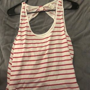 Large red striped tank